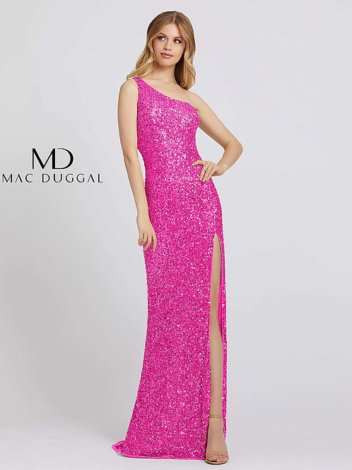 Fully Sequined Gown With Asymmetrical Neckline