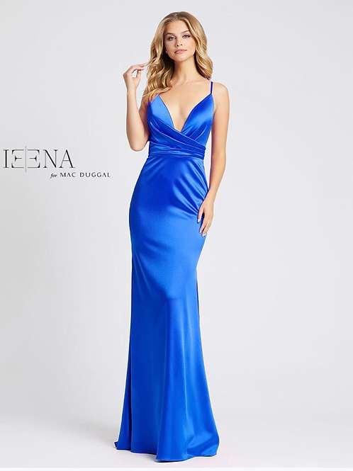 V-Neck Gown with Train in Fushia, Canary, & Royal