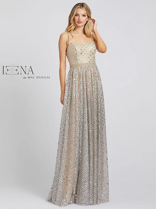 A-Line Sequined Gown with Beaded Belt