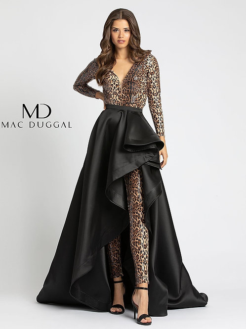 Cheetah Jumpsuit With Black Overlay Skirt