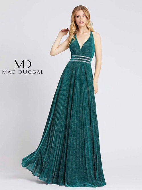 Pleated A-line Teal Gown