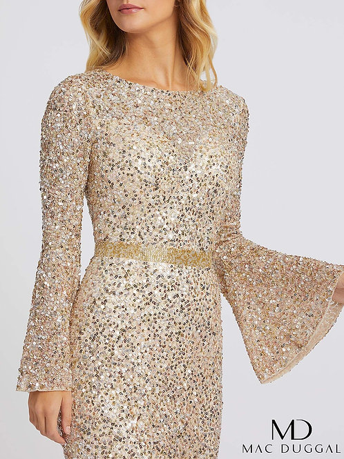 Bell Sleeves, Fully Sequined Gown sizes 0-20