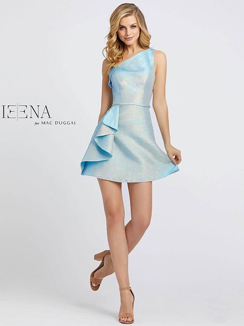 Blue Gold Cocktail Dress with Ruffle