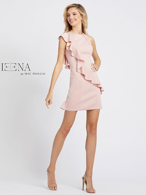 Pink Cocktail Dress With Wrap Around Ruffle