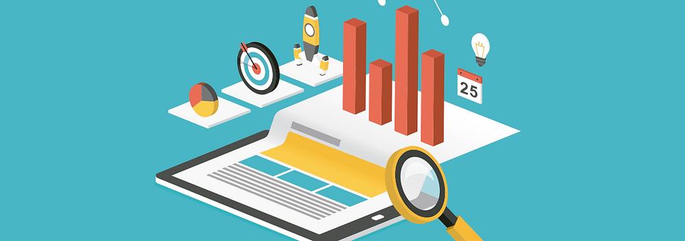lupa analisando dados de metas