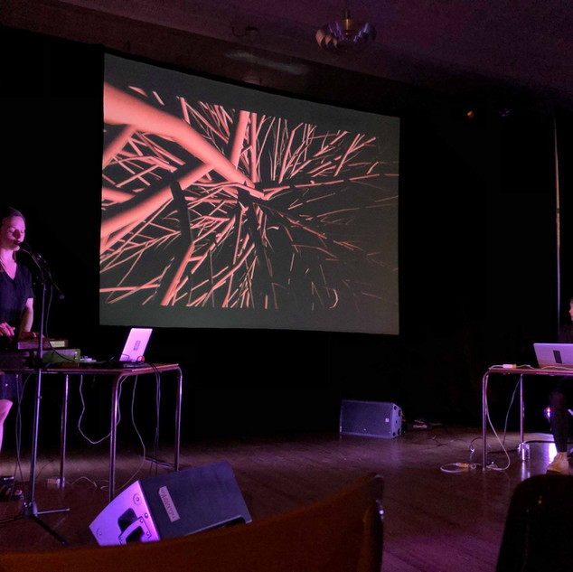 """Performing """"The Inside, The Outside"""", a live A/V performance developed with video artist Elysha Poirier at In The Soil Fest. 2019"""