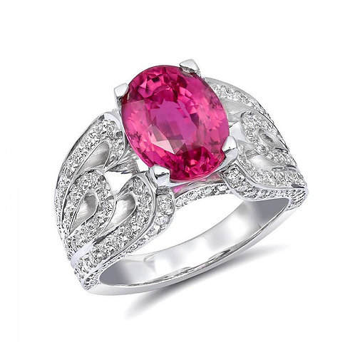 14k White Gold 5.16ct TGW Certified Pink Sapphire and White Diamond Ring