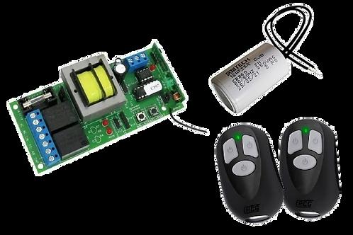 Kit com 01 central, 02 controles RCG 433,92 mhz e 01 capacitor