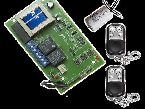 Kit com 01 central, 02 controles e 01 capacitor