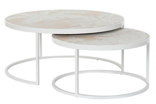 Set de 2 mesas de centro tropical en blanco