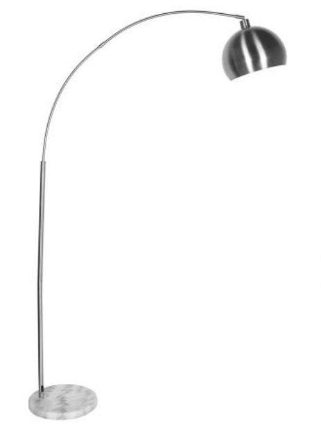 Lámpara de pie cromada arco