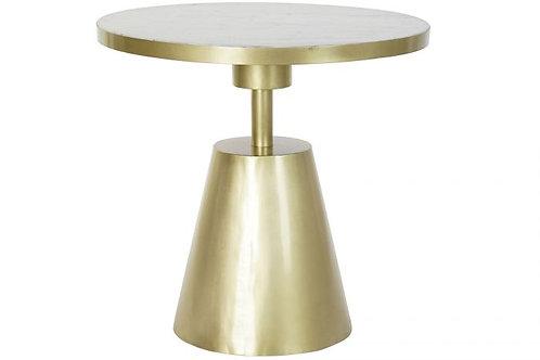 Mesita auxiliar deco en dorado con mármol blanco