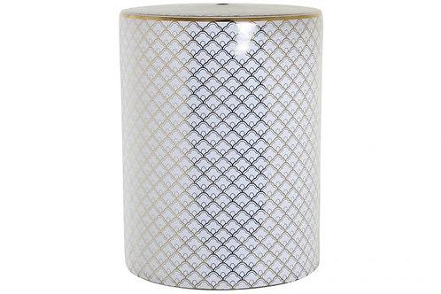 Mesita auxiliar en porcelana con detalles geométricos
