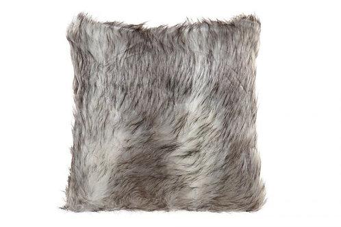 Cojín de pelos gris y blanco