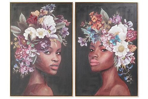 Set de 2 cuadros tocado de flores
