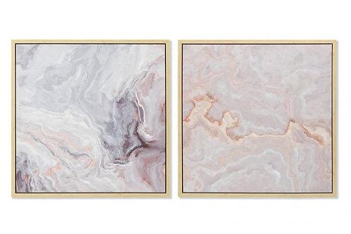 Set de 2 cuadros mármol rosa