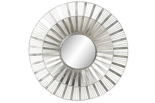 Espejo redondo plateado geométrico
