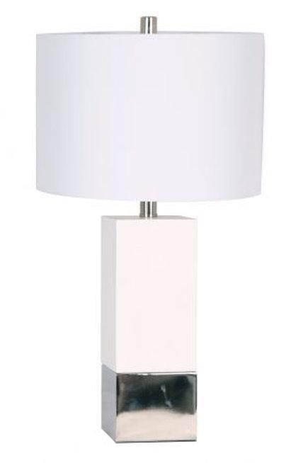 Lámpara contempo en mármol con detalle en plata