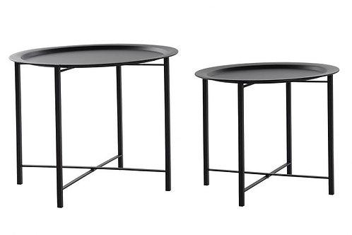 Set de 2 mesitas auxiliares minimalistas en negro