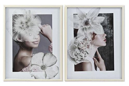 Set de 2 cuadros perfil de mujer