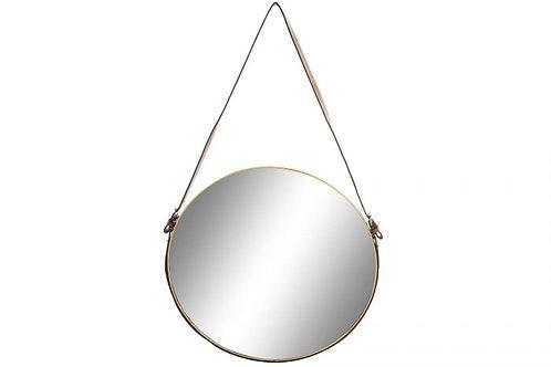 Espejo redondo colgante de correa