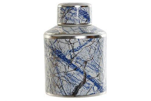 Jarrón decorativo azul y plata
