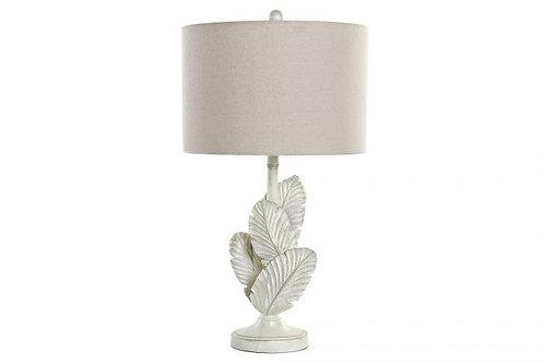 Lámpara de mesa con hojas en color blanco