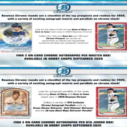 Dual MLB Box #2 - 2020 Bowman Chrome HTA & 2020 Bowman Chrome Hobby - RT