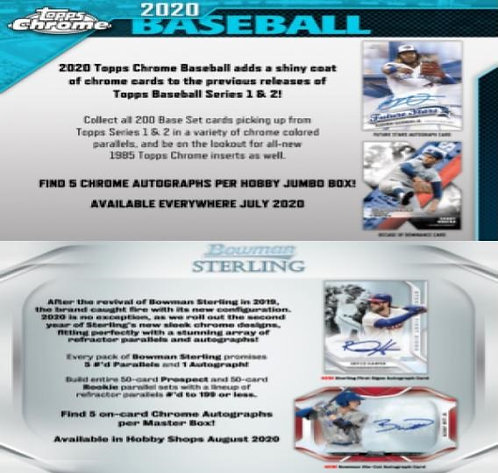 Dual MLB Box #1 - 2020 Topps Chrome Jumbo & 2020 Bowman Sterling - PYT