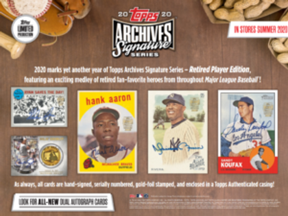 2020 Topps Archives Signature Series Retired Player 10 Box 1/2 Case Break #1-RT