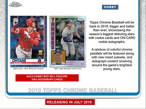 2019 Topps Chrome Hobby 1 Box Break #3-PYT