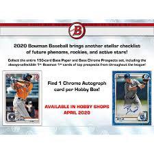 2020 Bowman Baseball Hobby 1 Box Break #3-PYT