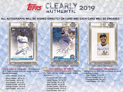 2019 Topps Clearly Authentic 1 Box Break #7-PYT