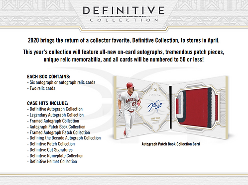 2020 Topps Definitive 1 Box Break #1-PYT