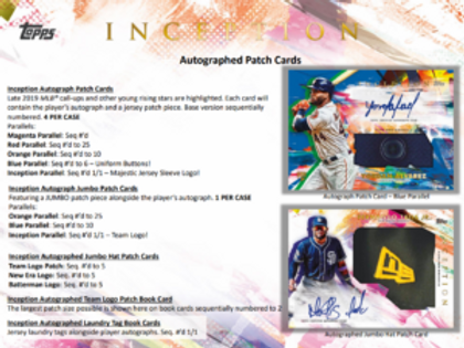 2020 Topps Inception 1 Box Break #5-PYT