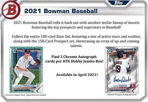 2021 Bowman Baseball Jumbo HTA 1 Box Break #5-PYT