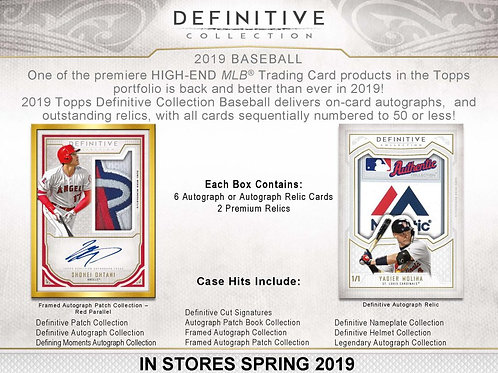 2019 Topps Definitive 1 Box Break #1-PYT