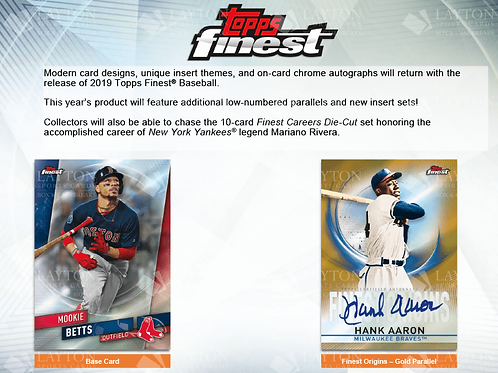 2019 Topps Finest 4 Box 1/2 Case Break #1-PYT