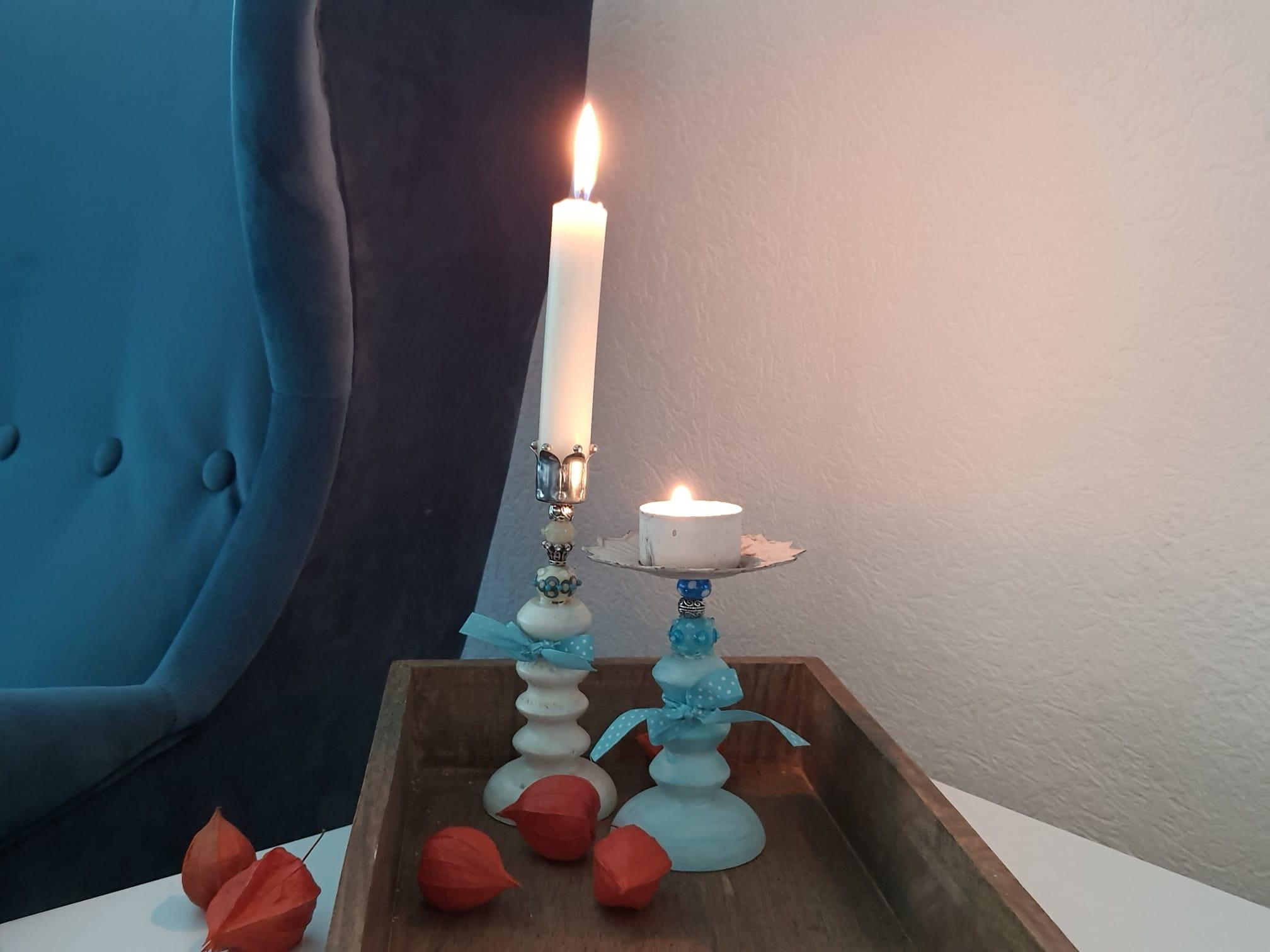 Kerzenständer & Stecker mit Glasperlen