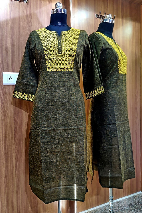Basic Indian Cotton A-Line Kurti (Embroidery)