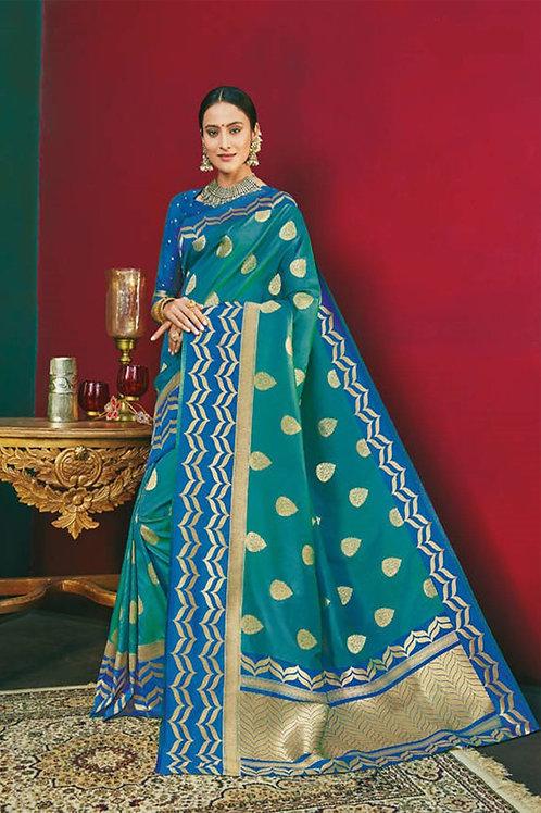 Basic Indian Premium Silk Saree (Cyan, Blue, Golden)