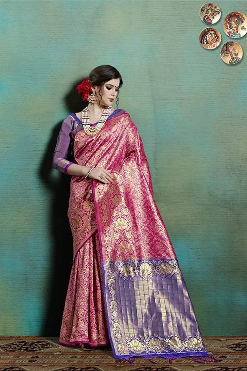 Basic Indian Silk Saree (Magenta pink, Blue)