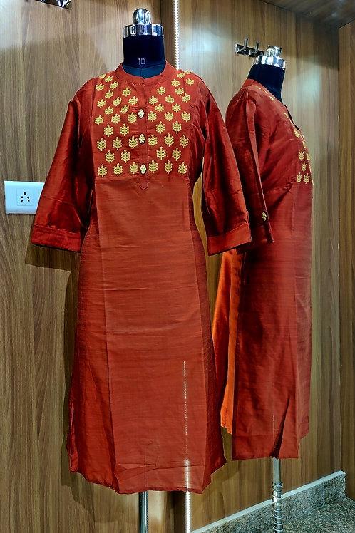Basic Indian Party Cotton Kurti (Shiny-Orange)