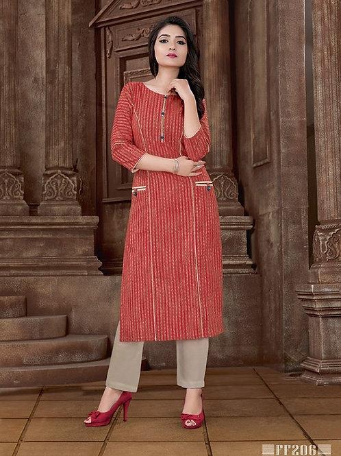 Basic Indian Cotton Kurti (Red, Sandy Brown)