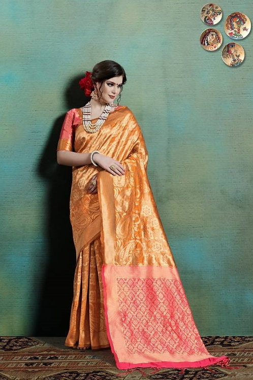Basic Indian Silk Saree (Golden, Pink)