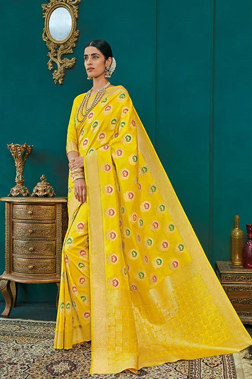 Basic Indian Premium Silk Saree (Yellow, Golden)