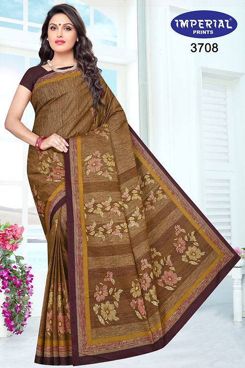 Basic Indian Linen Cotton Saree-4