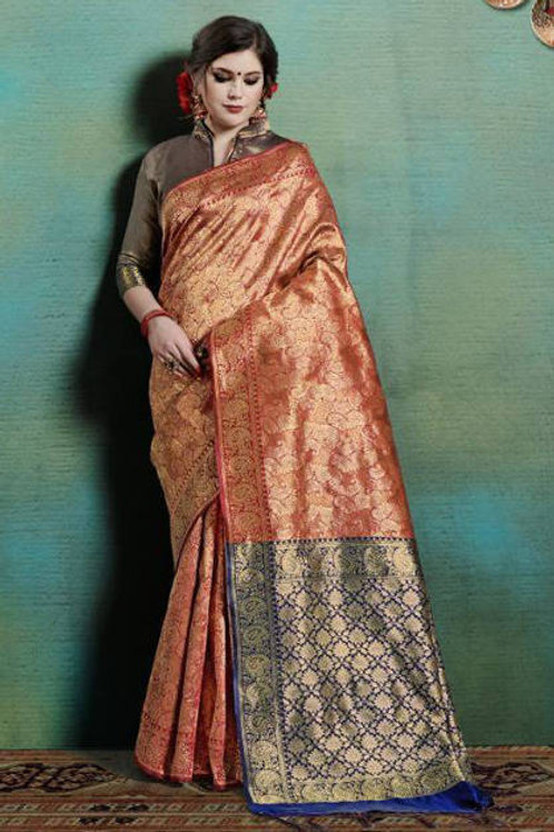 Basic Indian Silk Saree (Saffron, Golden)