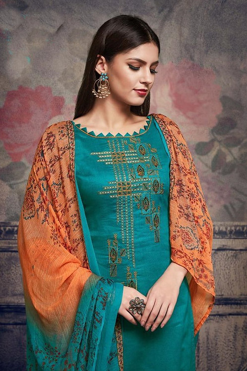 Basic Indian Fabric (Plazzo/Suit) -Cyan, Orange