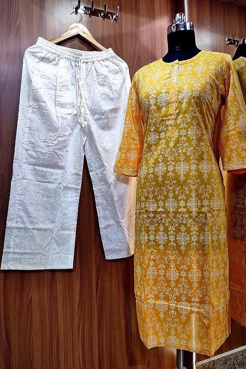 Basic Indian Cotton pant set (Yellow-White)